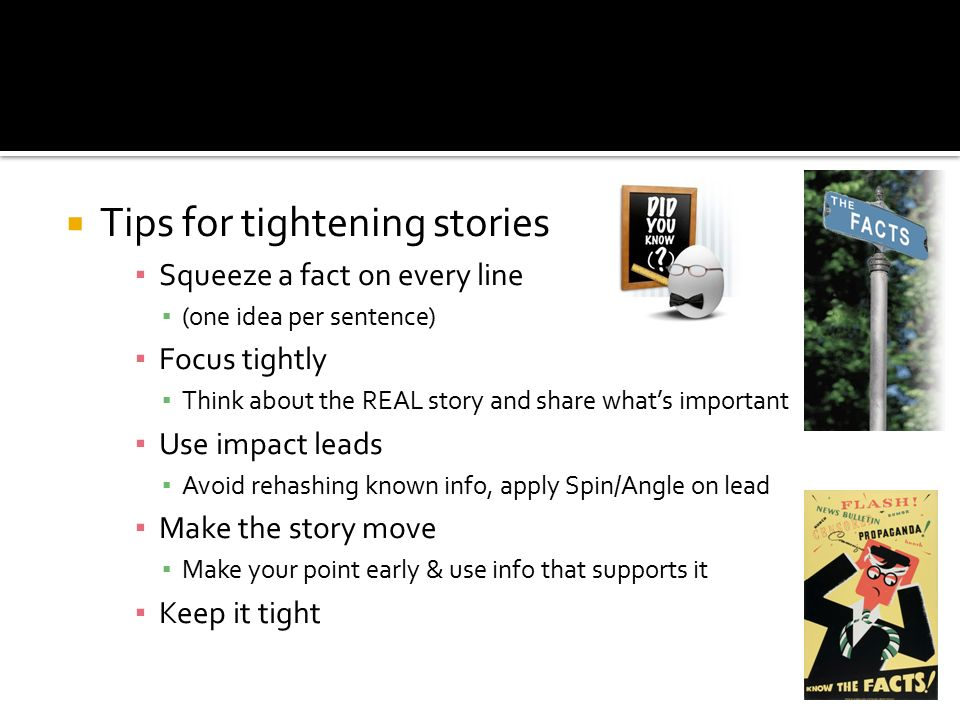 Tips for tightening stories
