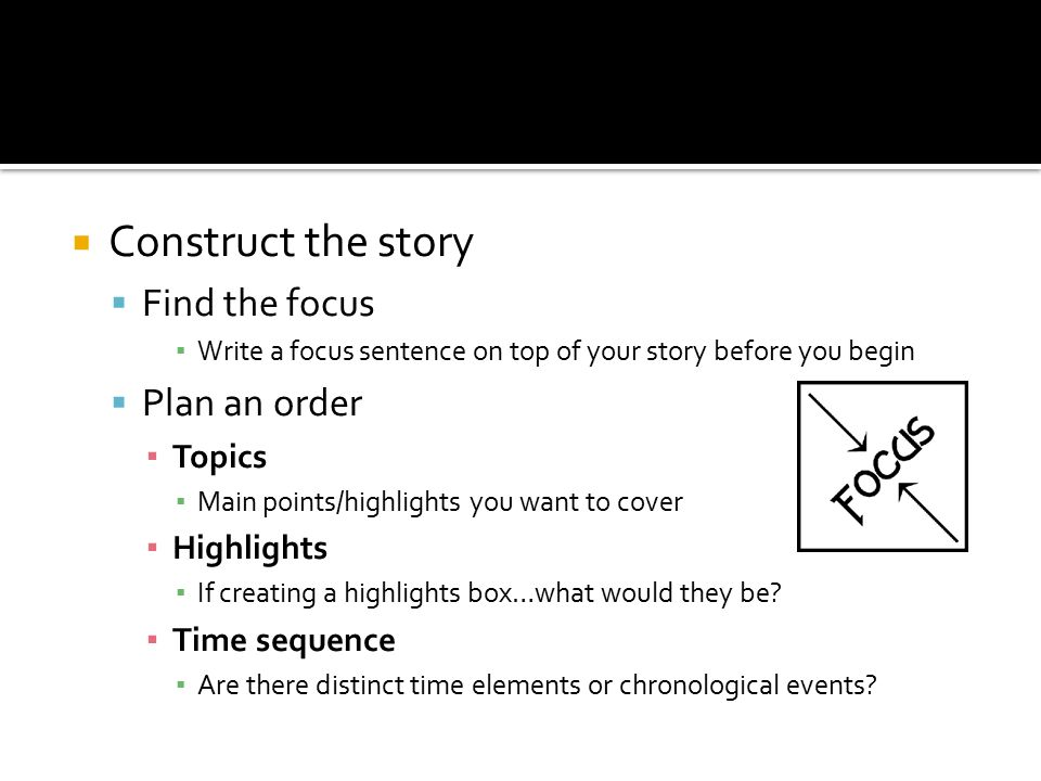 Construct the story Find the focus Plan an order Topics Highlights
