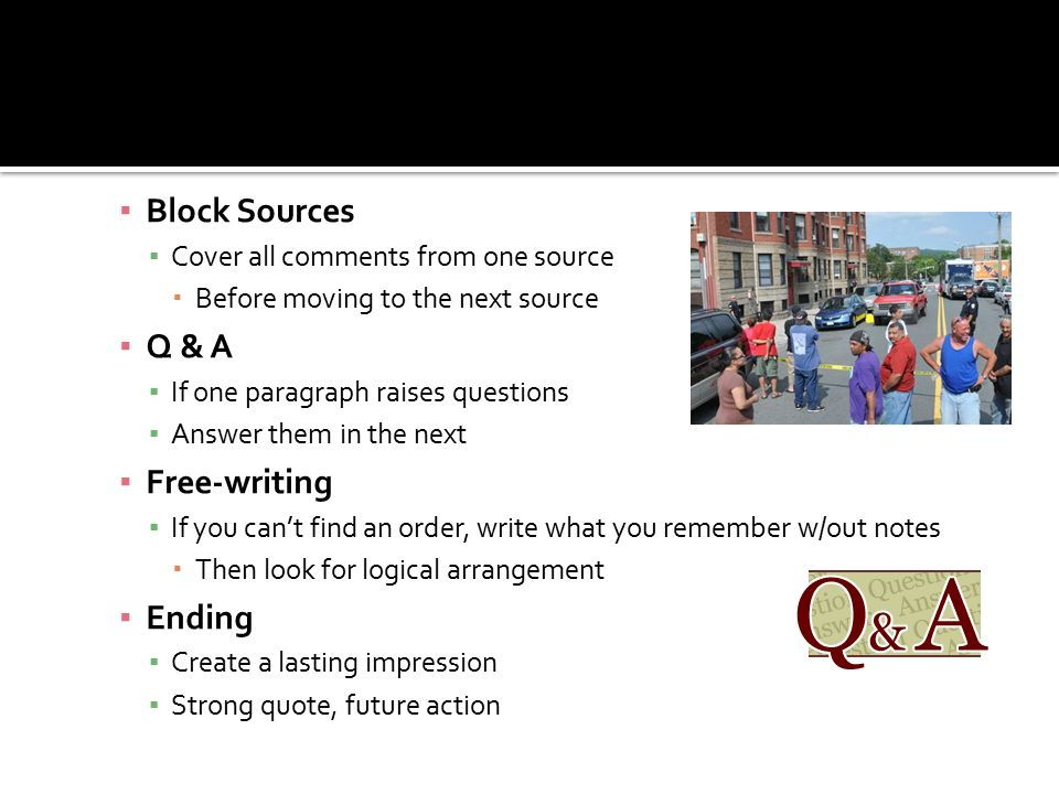 Block Sources Q & A Free-writing Ending