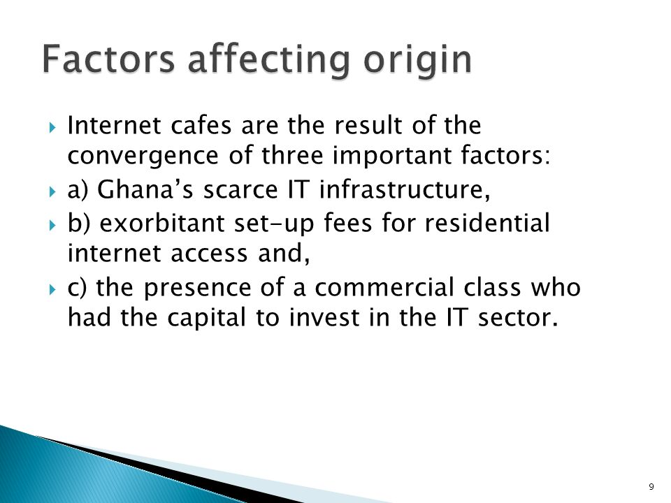 Factors affecting origin