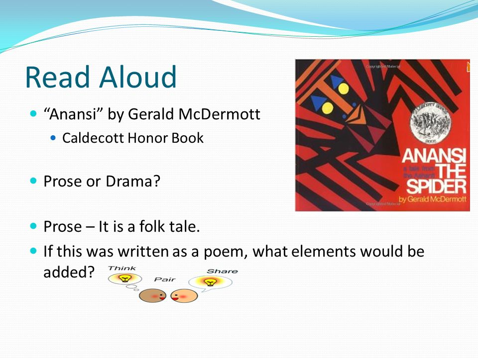 Read Aloud Anansi by Gerald McDermott Prose or Drama