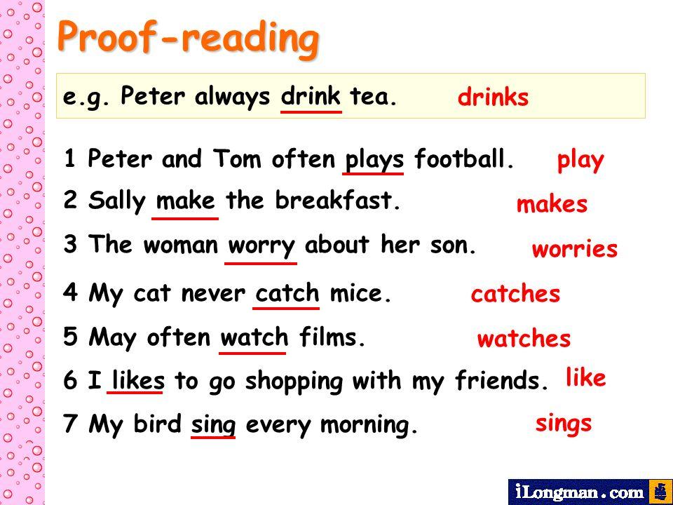 Proof-reading e.g. Peter always drink tea. drinks