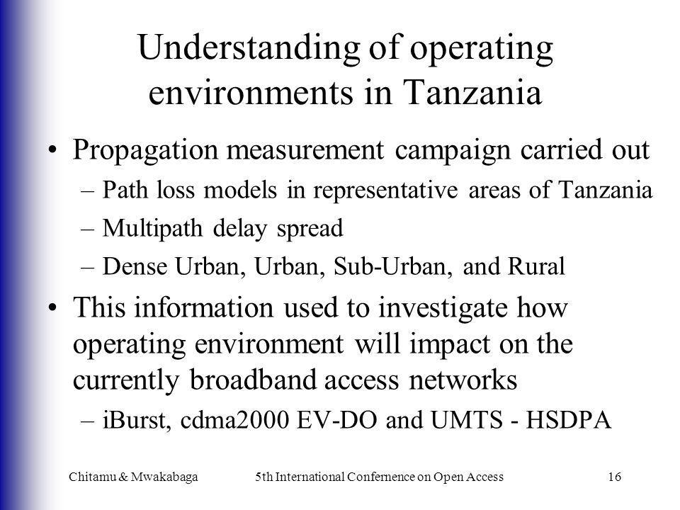 Understanding of operating environments in Tanzania