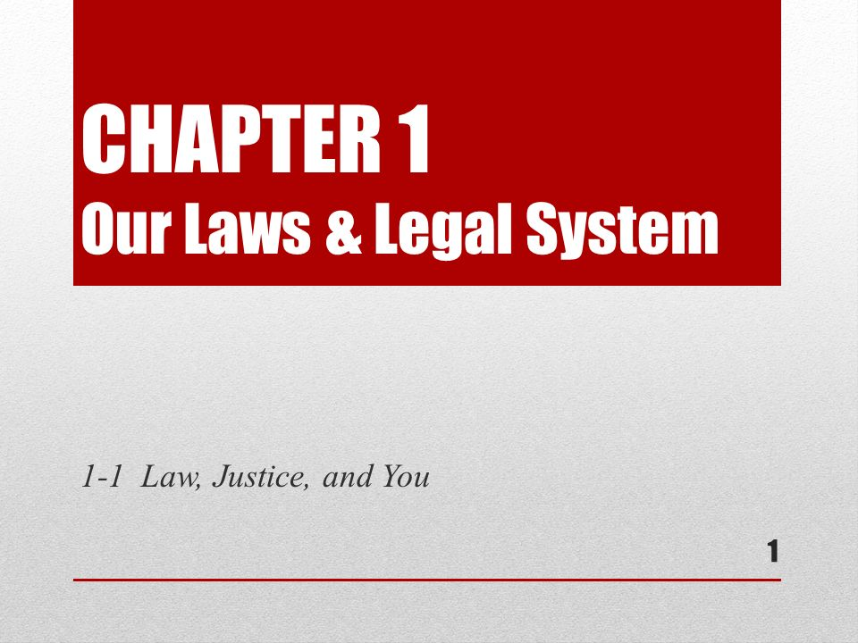 CHAPTER 1 Our Laws & Legal System