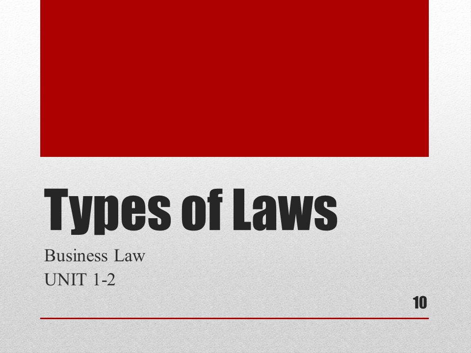 Types of Laws Business Law UNIT 1-2