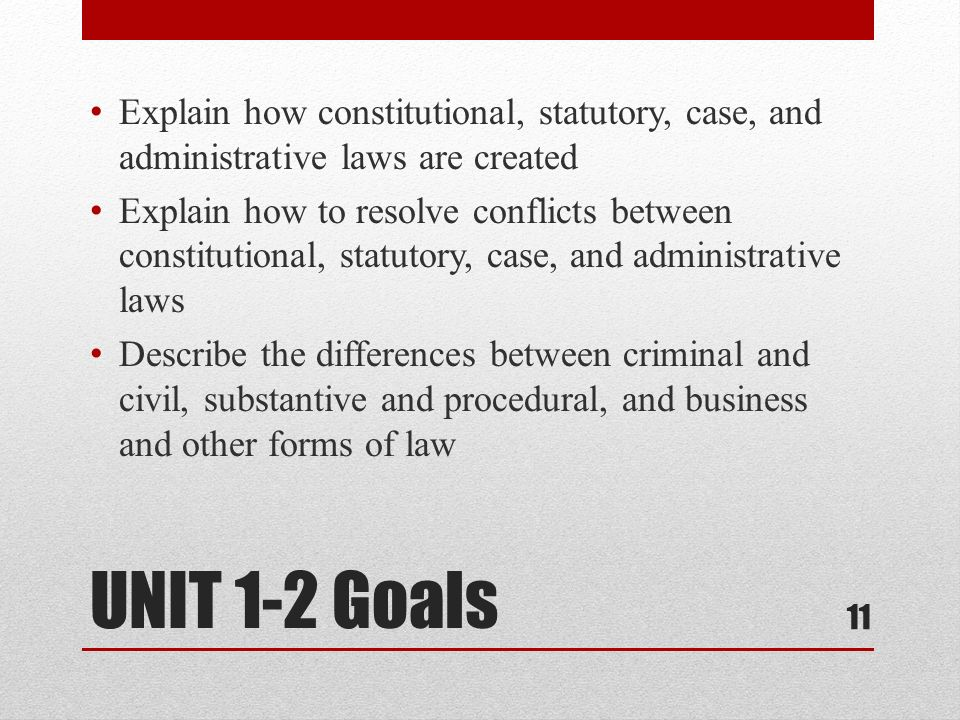 Explain how constitutional, statutory, case, and administrative laws are created