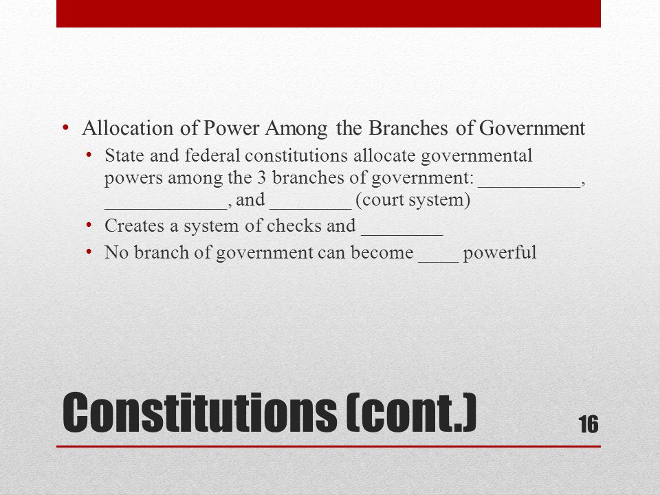 Allocation of Power Among the Branches of Government