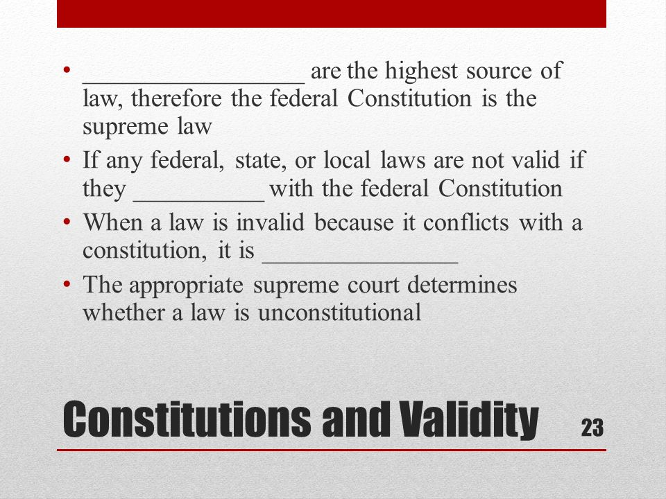 Constitutions and Validity