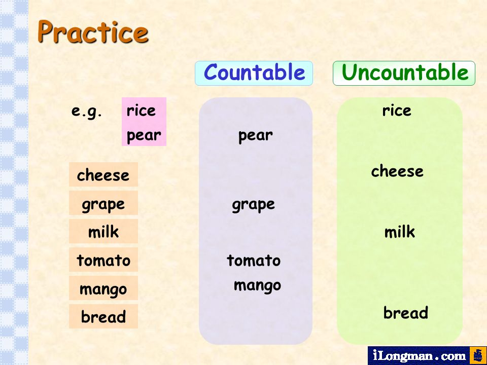 Practice Countable Uncountable e.g. rice rice pear pear cheese cheese