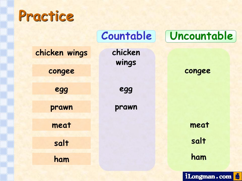 Practice Countable Uncountable chicken wings chicken wings congee