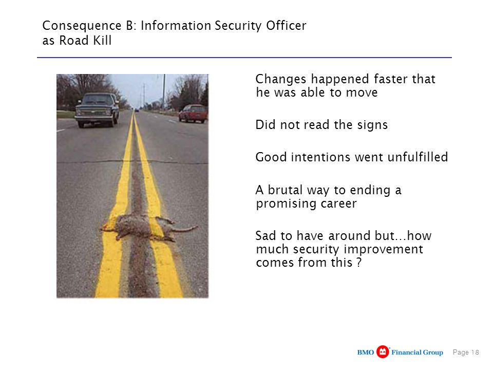 Consequence B: Information Security Officer as Road Kill