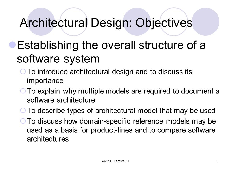 2 Architectural Design: Objectives
