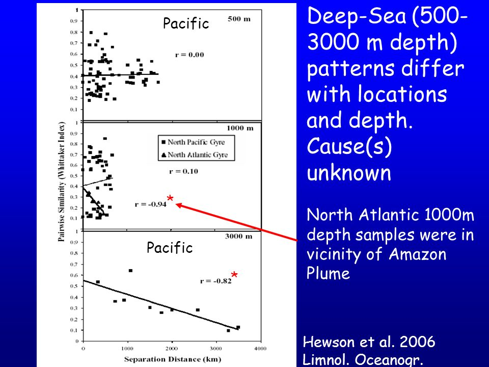 Deep-Sea (500-3000 m depth) patterns differ with locations and depth.