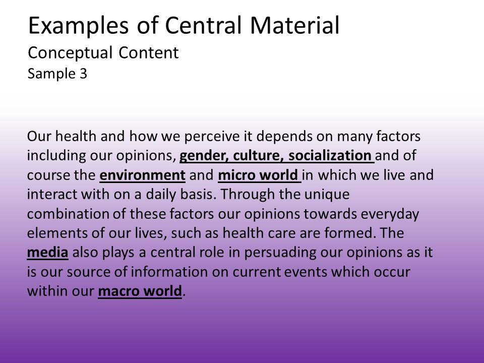 Examples of Central Material Conceptual Content Sample 3