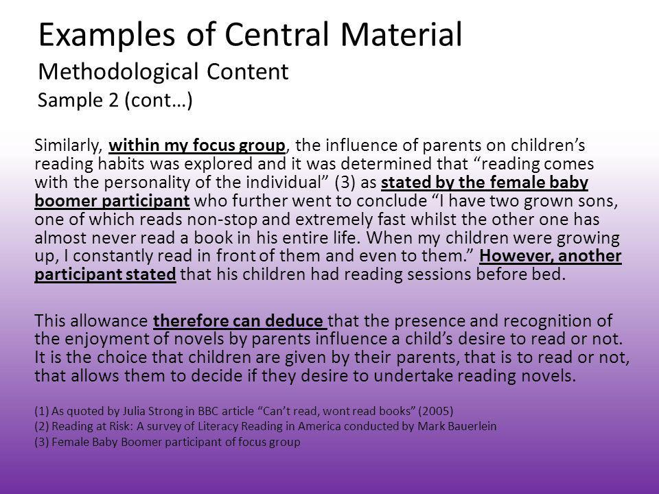 Examples of Central Material Methodological Content Sample 2 (cont…)