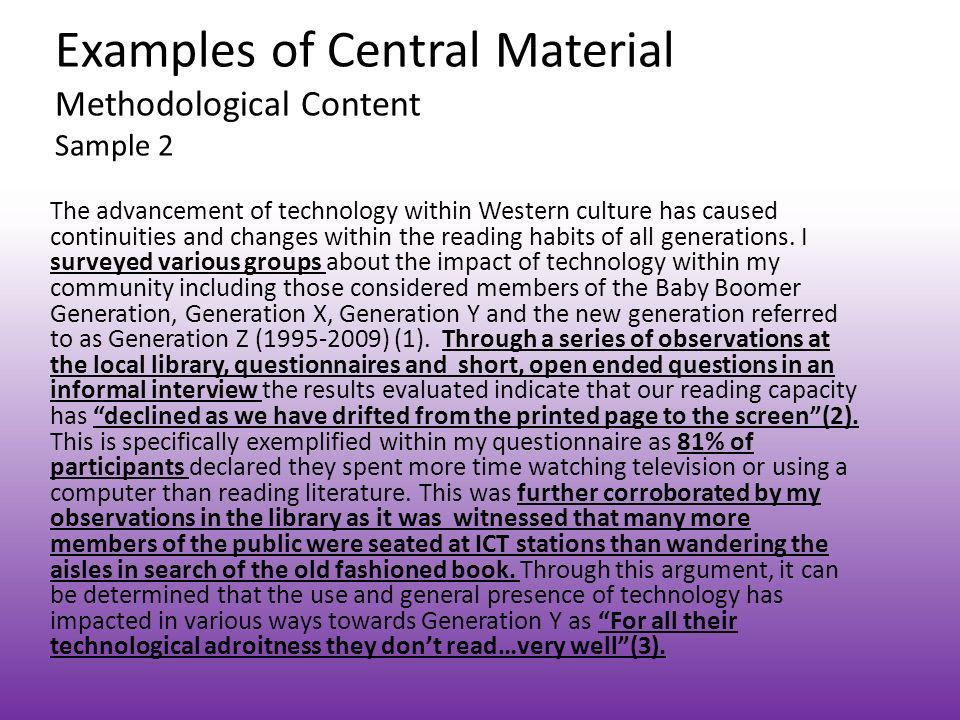 Examples of Central Material Methodological Content Sample 2