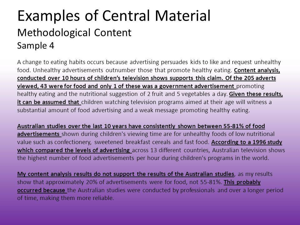 Examples of Central Material Methodological Content Sample 4