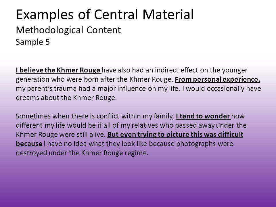 Examples of Central Material Methodological Content Sample 5