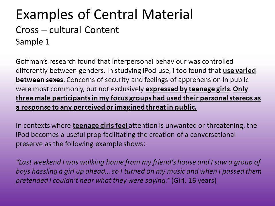 Examples of Central Material Cross – cultural Content Sample 1