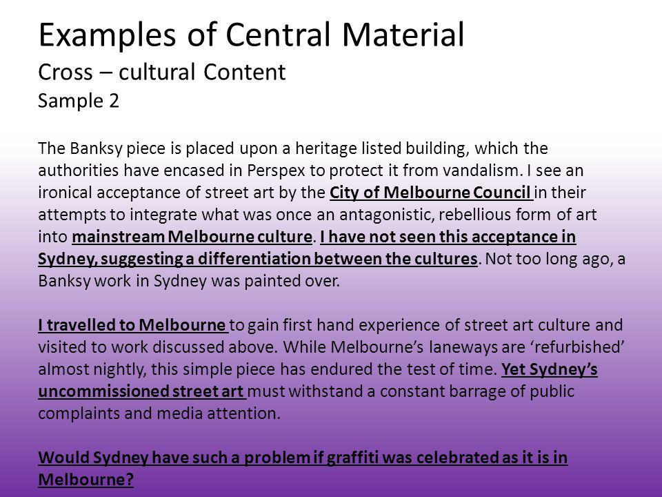 Examples of Central Material Cross – cultural Content Sample 2
