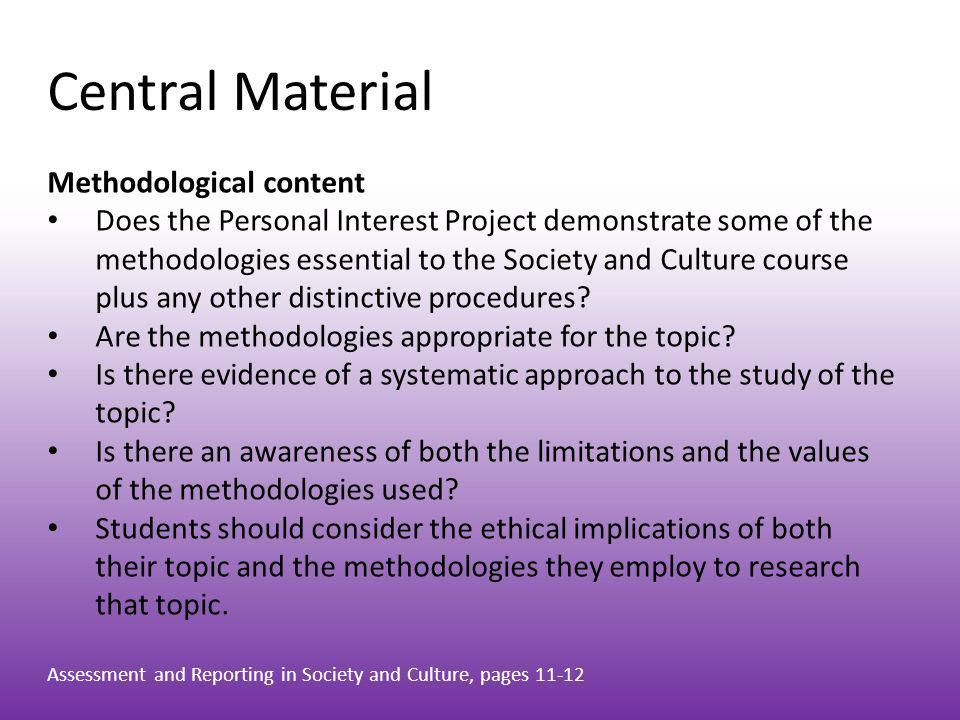 Central Material Methodological content