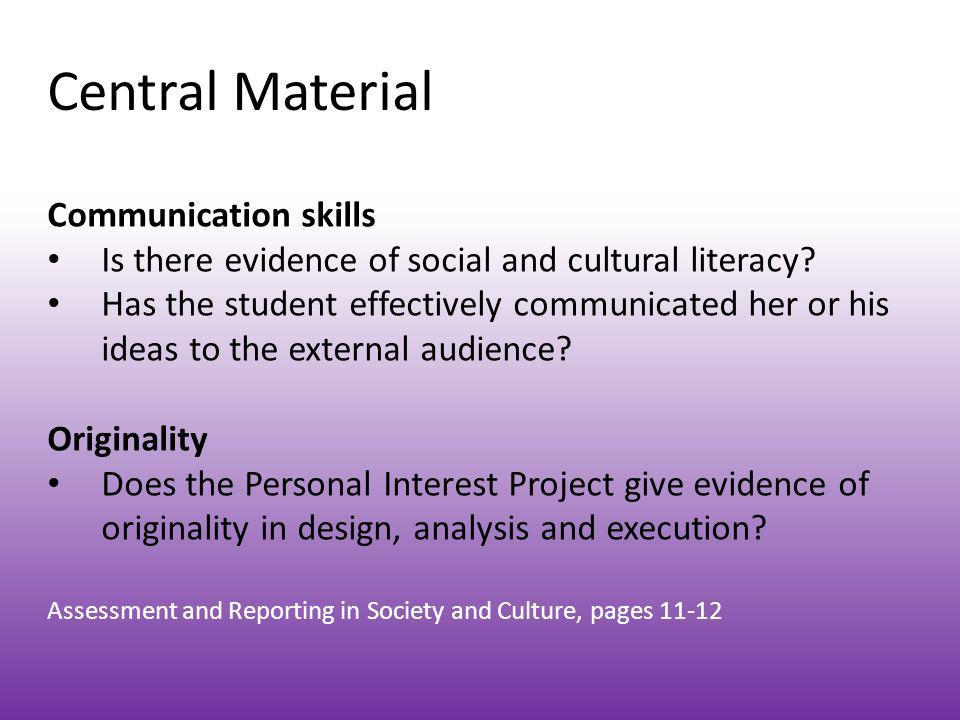 Central Material Communication skills
