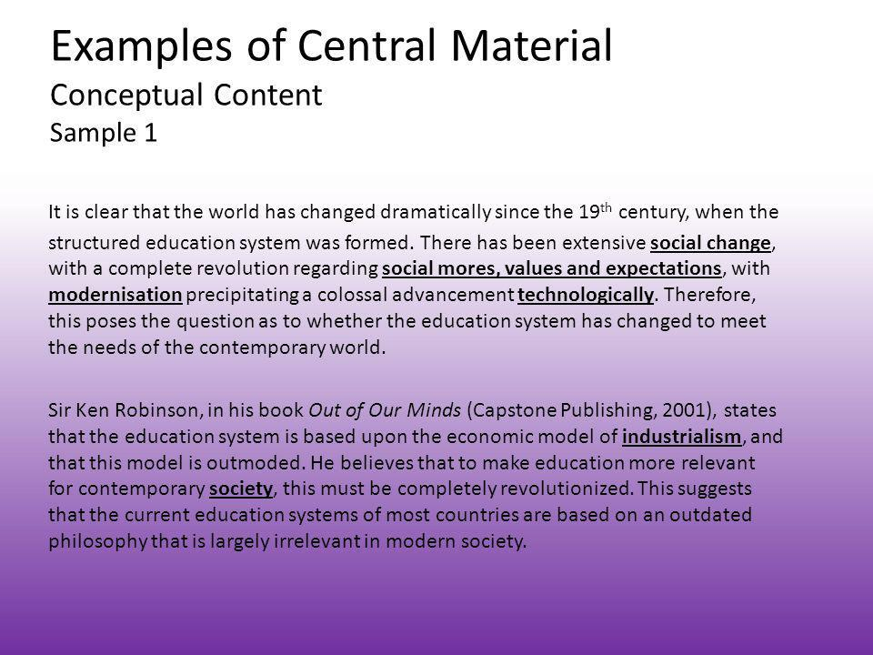 Examples of Central Material Conceptual Content Sample 1