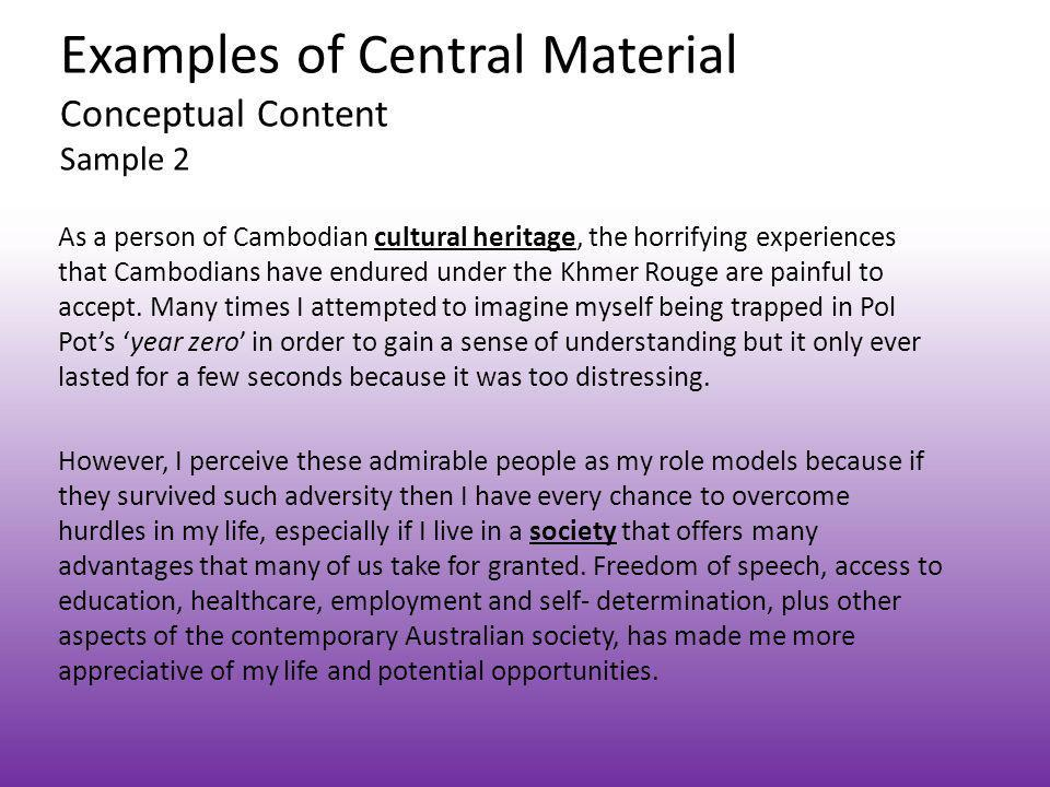 Examples of Central Material Conceptual Content Sample 2