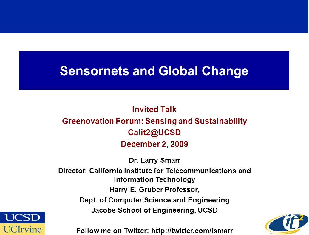 Sensornets and Global Change