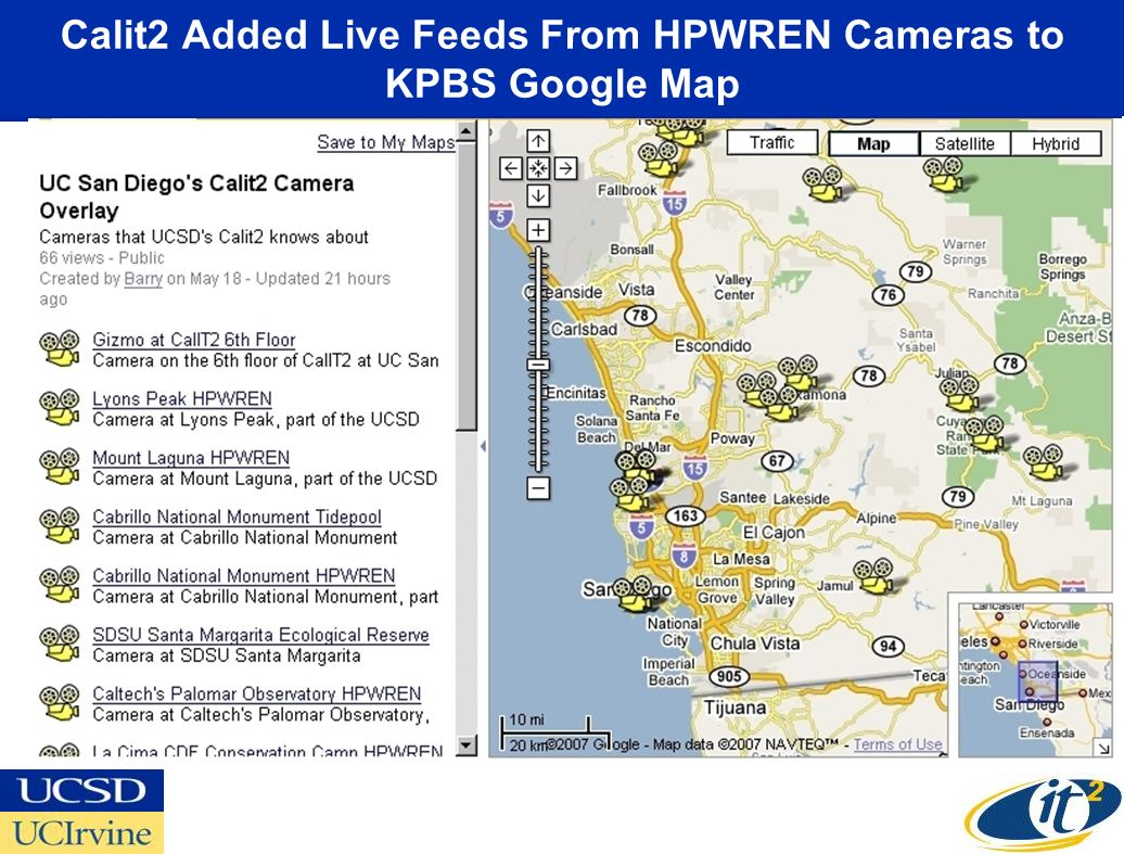 Calit2 Added Live Feeds From HPWREN Cameras to KPBS Google Map