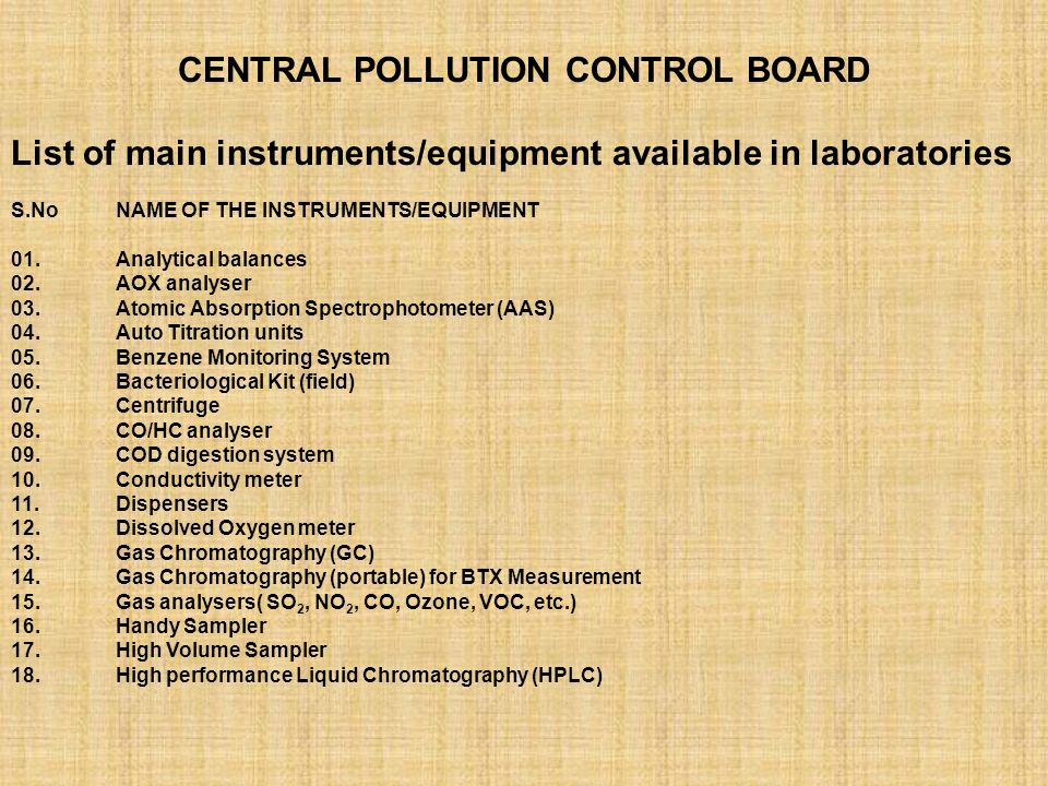 Laboratory Activities Central Pollution Control Board