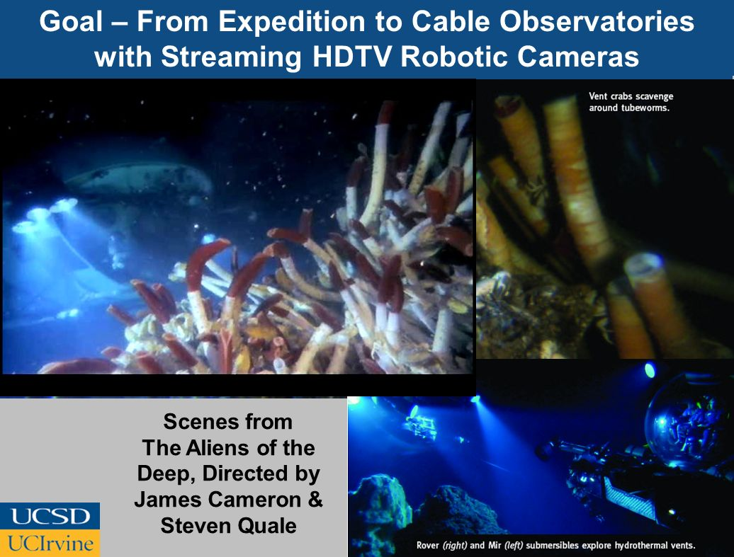 Goal – From Expedition to Cable Observatories with Streaming HDTV Robotic Cameras