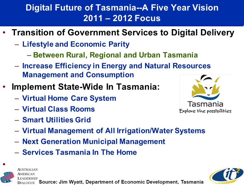 Digital Future of Tasmania--A Five Year Vision 2011 – 2012 Focus