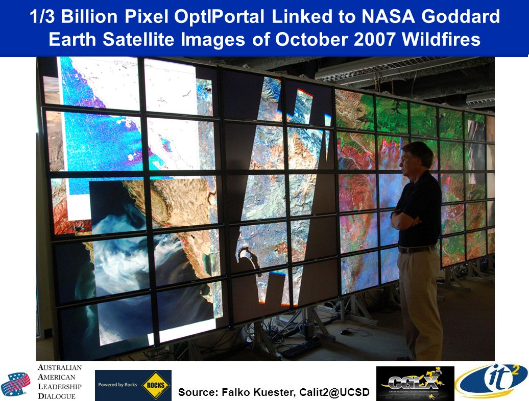 1/3 Billion Pixel OptIPortal Linked to NASA Goddard Earth Satellite Images of October 2007 Wildfires