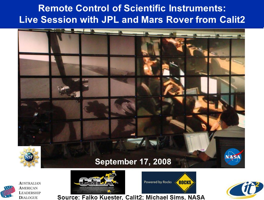 Remote Control of Scientific Instruments: Live Session with JPL and Mars Rover from Calit2