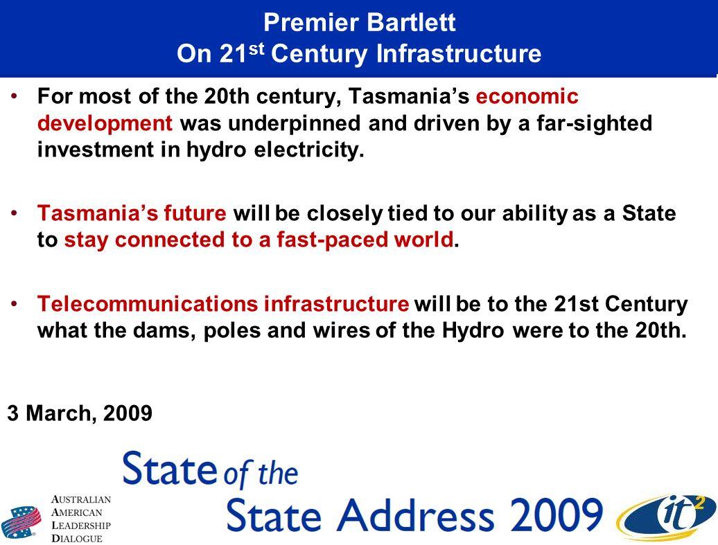 Premier Bartlett On 21st Century Infrastructure