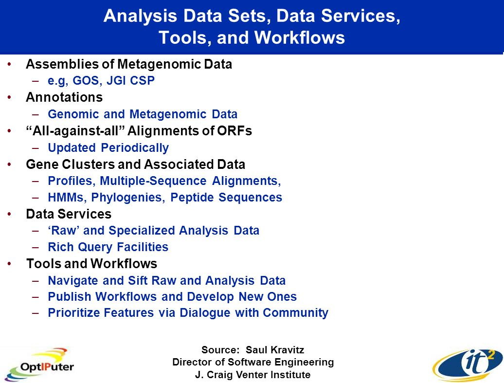 Analysis Data Sets, Data Services, Tools, and Workflows