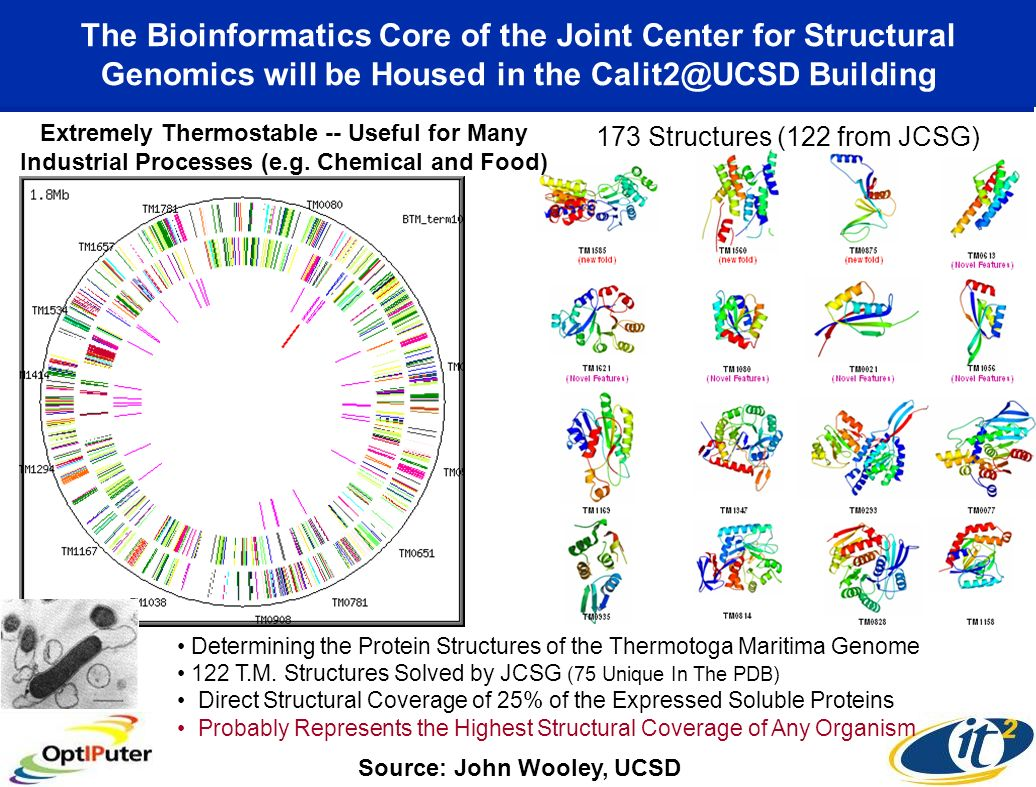 The Bioinformatics Core of the Joint Center for Structural Genomics will be Housed in the Calit2@UCSD Building