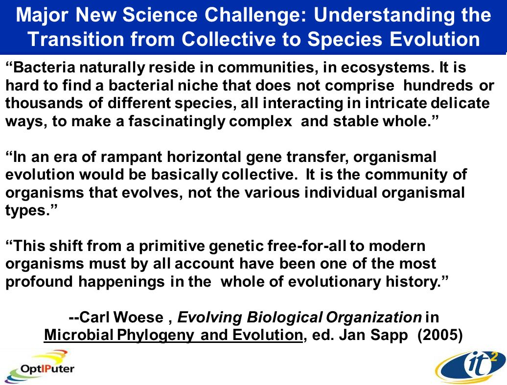 Major New Science Challenge: Understanding the Transition from Collective to Species Evolution