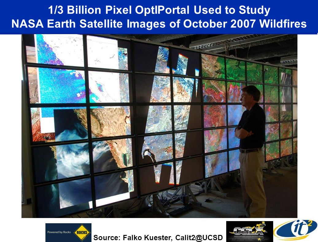 1/3 Billion Pixel OptIPortal Used to Study NASA Earth Satellite Images of October 2007 Wildfires