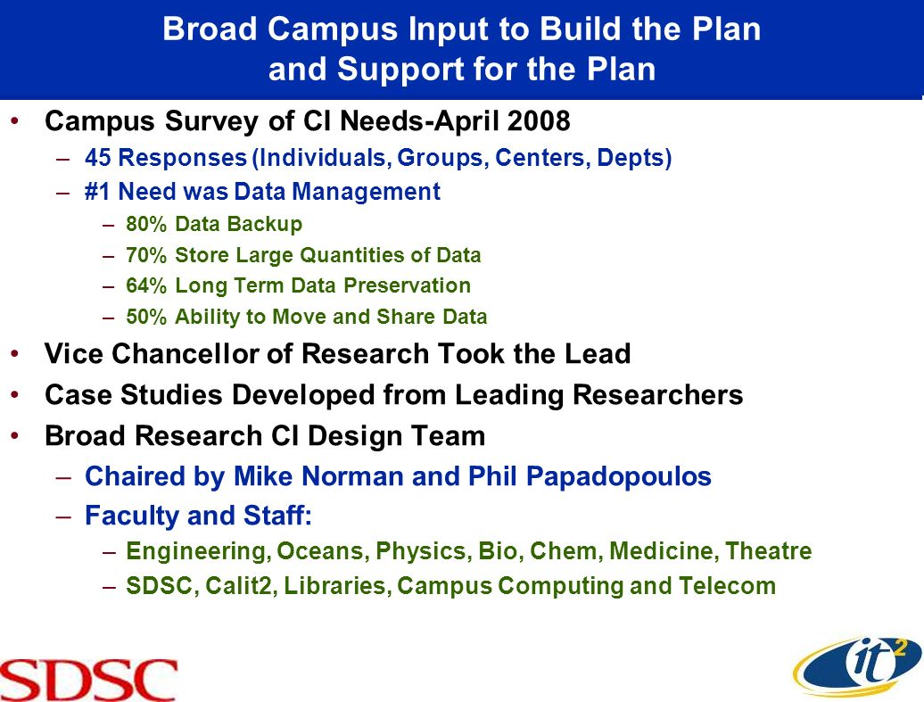 Broad Campus Input to Build the Plan and Support for the Plan
