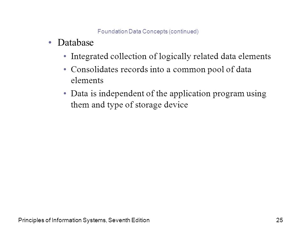 The database approach to data management provides significant advantages over the traditional - Type of foundation concept ...
