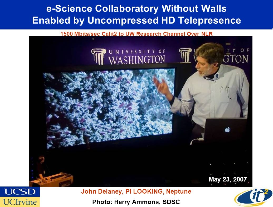 e-Science Collaboratory Without Walls Enabled by Uncompressed HD Telepresence