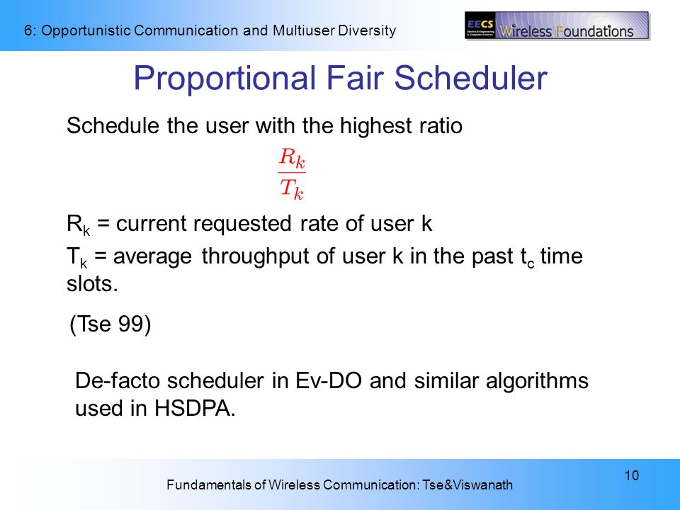 Proportional Fair Scheduler