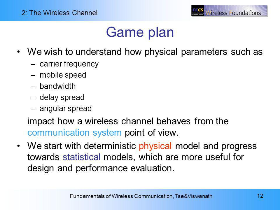 Game plan We wish to understand how physical parameters such as