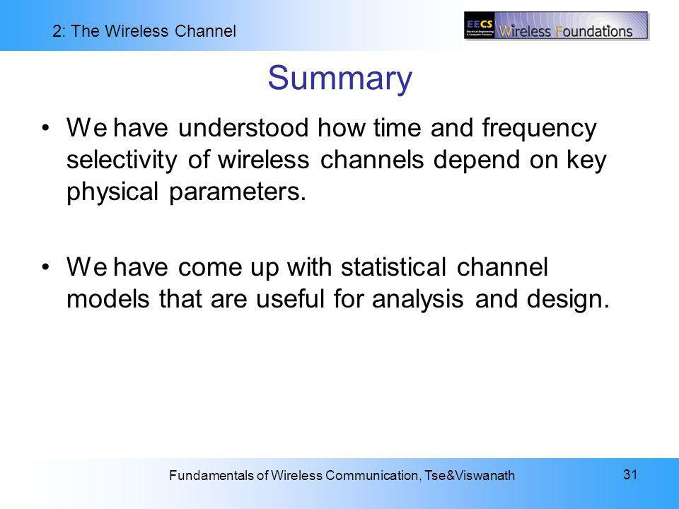 Summary We have understood how time and frequency selectivity of wireless channels depend on key physical parameters.