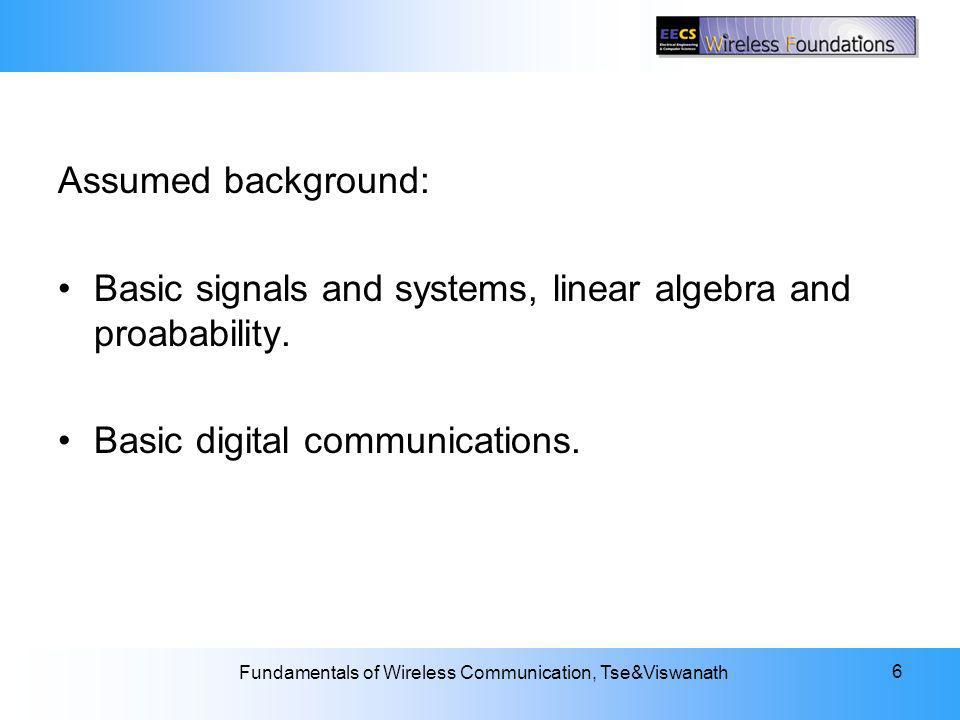 Assumed background: Basic signals and systems, linear algebra and proabability.