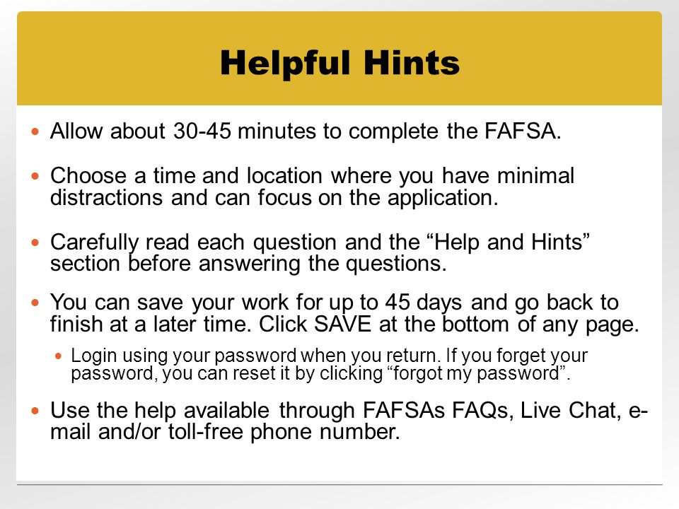 Free Application for Federal Student Aid (FAFSA) - ppt download