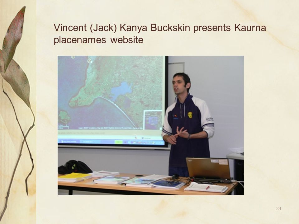 Vincent (Jack) Kanya Buckskin presents Kaurna placenames website