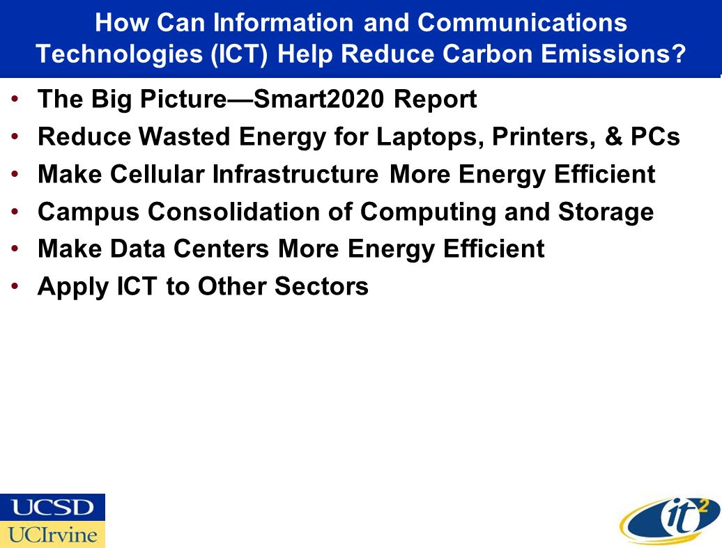 How Can Information and Communications Technologies (ICT) Help Reduce Carbon Emissions